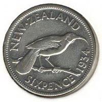 Новая Зеландия 6 пенсов 1934 г. Серебро.