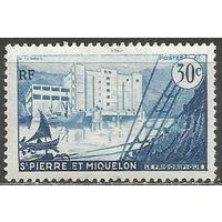 Сен-Пьер и Микелон. Залив. Яхта. 1955г. Mi#375.