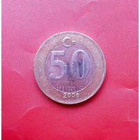 87-15 Турция, 50 новых курушей 2008 г. Единственное предложение монеты данного года на АУ