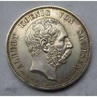 Германия, Саксония, 5 марок, 1902, траурные, серебро