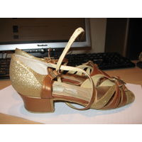 Танцевальные туфли для латины, бальных танцев (кожа), 24 р-р медного плюс золотого цвета