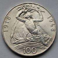 Чехословакия,100 крон, 1948, серебро