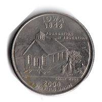 США. 1/4 доллара (1 квотер, 25 центов). 2004. Айова. D
