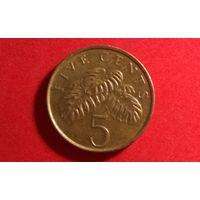 5 центов 1995. Сингапур.