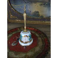Колокольчик каподимонте capodimonte бронза фарфор Ручная роспись