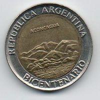 РЕСПУБЛИКА АРГЕНТИНА 1 ПЕСО 2010. 200 лет Аргентине - вулкан Аконкагуа. БИМЕТАЛЛ
