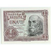 Испания, 1 песета 1953 год. UNC-