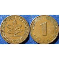 ФРГ, 1 пфенниг 1977 J, монетный двор Гамбург