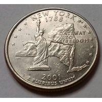 25 центов, квотер США, штат Нью-Йорк, P  D