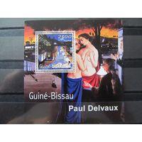 Марки - Гвинея-Бисау, 2001. искусство, живопись, Поль Дельво, Ню, блок