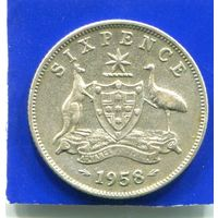 Австралия 6 пенсов 1958 , серебро