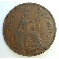 1 пенни 1947 года. Великобритания, Георг 6. Монета А2-2-3