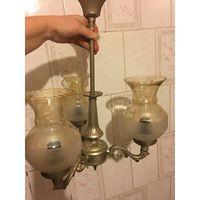 Люстра Югославия на 3 Лампы Е14 Небольшая Светильник времён СССР  Цвет благородное матовое золото с серебром