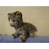 """Мягкая старинная редкая игрушка  Steiff """" Полосатый котенок""""  Набивная. Шерсть.  Антик. 16х29 см."""