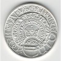 Чехия 200 крон 2002 года. Серебро. Европейская валютная система. Штемпельный блеск! Состояние UNC! Тираж 13 730 шт. (134 шт. позже были переплавлены). Редкая!