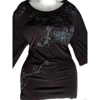 Блузка трикотажная (натуральная индийская вискоза), очень худит, р-р 48-58 (по маркировке - 58, хорошо тянется, но не деформируется), новая, цвет черный, рисунок выполнен из блестящих ниток, пайеток и