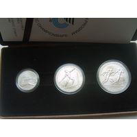 Греция набор из 3 монет, посвященных Пан-Европейским играм (100 драхм, 250 драхм и 500 драхм 1981 года). Серебро. В оригинальной коробке. Идеальное состояние!