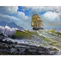 Картина - Волна море и корабль-парусник