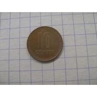 Литва 10 центов 1991г.km88