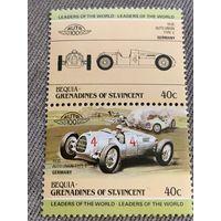 Бекия. Сент-Винсент и Гренадины. Автомобили мира. Auto Union Type C 1936. Марка из серии