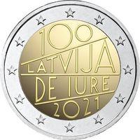 2 евро 2021 Латвия 100-летие международного признания Латвии де-юре UNC из ролла