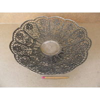 Ваза-конфетница СССР. скань, мельхиор. 140х45 мм