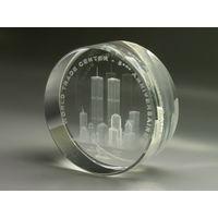"""Конго 10 франков 2006г. 3D """"Трагедия в WTC"""". Монета в подарочном футляре; сертификат; коробка. АКРИЛ 39гр."""