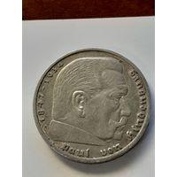 5 марок Германия A.(Третий Рейх-паук) 1936 год. Серебро 900 пробы.Монета не чищена. 325