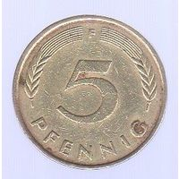 """5 пфеннигов ФРГ 1977 """"F""""_Лот #0928"""