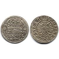 Грош 1608, Сигизмунд III Ваза, Краков. Рв - герб Леварт в щитке. Остатки штемпельного блеска, коллекционное состояние