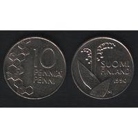 Финляндия km65 10 пенни 1990 год (M) (новый тип) CuNi цветы (f31)*