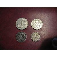10, 20, 50 грошей 1923 года и 1 злотый 1929 года (комплект Польского никелеля 1923 - 1929 годов)