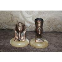 Металлические фигурки-статуэтки, с основанием из натурального камня, высота 8 и 10 см.