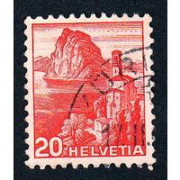 Швейцария, почтовая марка, 1936 год, номинал 20с, SG#375A (*7)