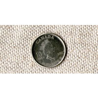 Канада 10 центов 2001 Волонтёры //(Ок)