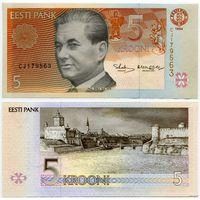 Эстония. 5 крон (образца 1994 года, P76, UNC) [серия CJ]