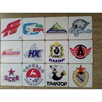 """12 магнитов """"Логотипы команд КХЛ"""". Размер магнита 10/10 см."""