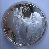 Каймановы острова. 5 долларов 2006, 80 лет ДР Елизаветы II. серебро.   .9Е-14
