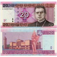 Литва. 20 лит (образца 2007 года, P69) [серия AJ]
