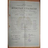 Аттестат зрелости. (Атэстат сталасцi) 1951 г. Минск. 14 школа рабочей молодежи