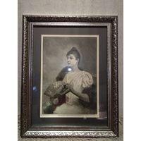 """Литография. """" Портрет женщины 18 века"""". Оригинал."""