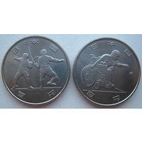 Япония 100 йен 2018 г. Первые 2 монеты из серии Олимпиада + Паралимпиада в Токио в 2020 г. Цена за пару