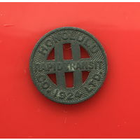 Ж 01-06 США  транспортный транзитный жетон Гонолулу в 1 единицу. 1924 г. Цинк Единственное предложение жетона данного типа на АУ