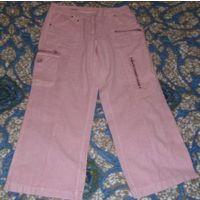 Бриджи розовые, р-р 44-46, как новые, в составе лен-хлопок (55/45)