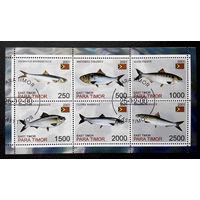Восточный Тимор 2001  г. Сельди. Рыбы. Фауна, полная серия + Блок #0079-Ф1