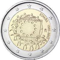 2 евро Испания 2015 30 лет флагу UNC из ролла