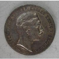 Германия. 3 марки 1909 серебро. Пруссия.  V.02
