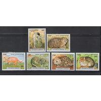 Камбоджа Лесные кошки 1996 год чистая полная серия из 6-ти марок