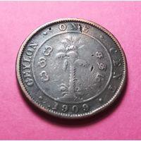 Британский Цейлон 1 цент 1909г