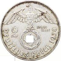 "РАСПРОДАЖА!!! - ГЕРМАНИЯ 2 марки 1938 год ""ПАУЛЬ фон ГИНДЕНБУРГ"" (серебро)"